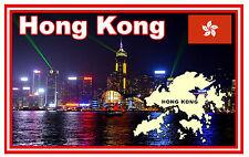 HONG KONG, MAP & FLAG - SOUVENIR NOVELTY FRIDGE MAGNET - NEW - GIFT