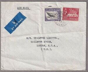 Commercial Airmail Cover From Crater Kraytar Aden To Unilever House London 1953