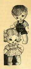 Vintage Stuffed Sock Doll PATTERN 7468 Boy & Girl with Clothes 12 inches