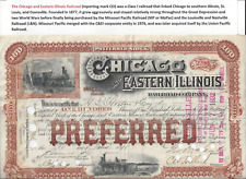 Stk Chicago & Eastern Illinois RR 100 sh Preferred 1891 Brown  TWO vignettes