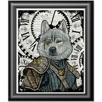 Wolf Print Vintage Dictionary Page Wall Art Picture Steampunk Animal Picture