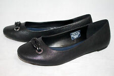 NAUTICA Ortley Wo's 9 Black Tumbled Leather Ballet Flats Vamp Knot Ornament