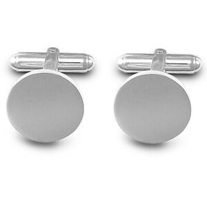 Jewelco London Rhodium Sterling Silver Round Disc T-shape Cufflinks