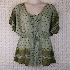 Womens Juniors LOOP 18 Boho Peasant Style SS Blouse Shirt Top Green Size 13/15