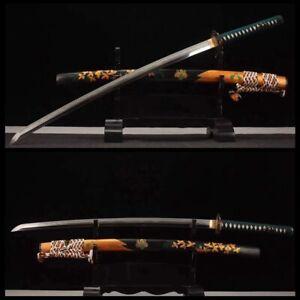 Japanese Samurai Katana Ground muscle steel Clay Tempered Razor Sword Sharp