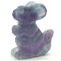 "2""Squirrel Figurine Natural Stone Fluorite Crystal Healing Reiki Home Decor 2324"