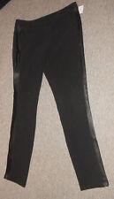 20 153/6 Vero Moda Pantaloni Donna tgl 38 NERO kunstledereinsätze