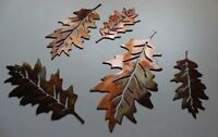 Metal Wall Veined Oak Leaves set of 5 leaves