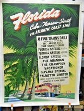 Atlantic Coast Line Railroad 1941 Travel Poster Original Two Sheet Linen Backed