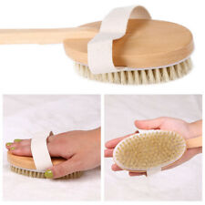Professional Dry Skin Brush Detachable Handle Body Bristle Bath Massager Scrub