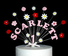 Flower birthday cake topper, garden, roses, daisys, personalised name and age