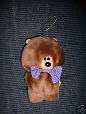 "Applause plush bear 1982 LESTER polka dot necktie 7"" Stuffed Animal Cute Face"