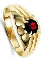 Herren Granat Solitaire Ring Massiv 9 Karat Gelbgold Handgefertigt Gepunzt