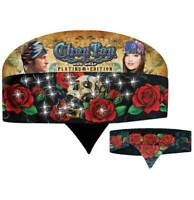 Red Roses Skull Rhinestones Chop Top Biker Bandanna Head Wrap Sweatband Headband