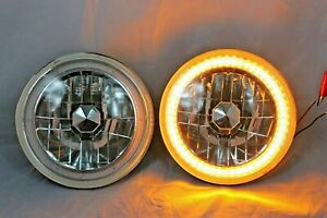 "1969-1980 Chevy C10 C20 Suburban 7"" Round Amber LED SMD Halo Headlights"