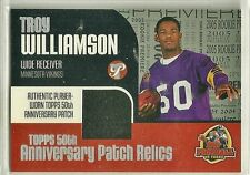 TROY WILLIAMSON RC GU Jersey (Sleeve) 2005 Topps 50th PATCH Relics Vikings USC