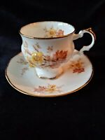 ELIZABETHAN FINE BONE CHINA Footed Cup & Saucer FLORAL W/Gold Trim