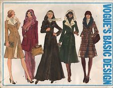 Vogue Sewing Pattern Misses' Coat Semi-Fitted Hooded #1114 Size 8 1970's Uncut