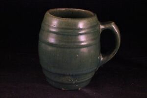 ANTIQUE/VINTAGE GREEN STONEWARE UHL POTTERY BARREL SHAPED COFFEE MUG