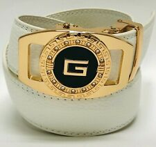 Men White Designer Leather Belt Sliding Ratchet Automatic Gold Buckle Holeless