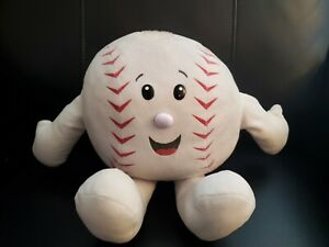 """Build a Bear Red and White Round Baseball Plush - 14"""""""