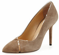 $665 NIB sz 9.5/40 Charlotte Olympia Natalie Grey Sheryl Suede & PVC Pump Shoes
