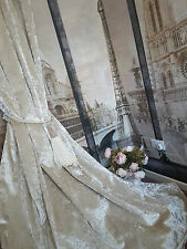"""NEW! Dcadent Heavy Ivory Cream Crushed Velvet 93""""D102""""WCotton Lined Bay Curtains"""