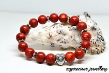 Red Coral Natural Gemstone Bracelet Stone 10mm Silver Heart Healing  Reiki