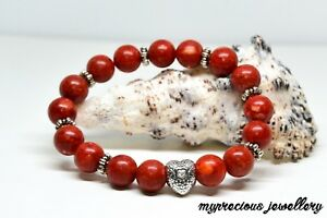 Red Coral Natural Gemstone Bracelet Stone 10mm Silver Heart Healing  Reiki