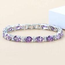 "Purple Crystals Amethyst White Topaz Bracelet 925 Sterling Silver Chain 7"""