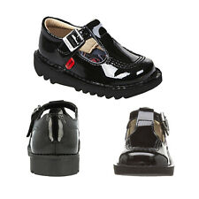 Kickers Infants Girls Kick T-Bar Patent Leather Mary Jane Buckle School Shoes