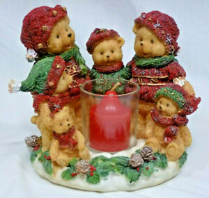 Vintage Home Interiors Winter Bear Family Candle Holder - Red & Green - Orig Box