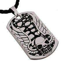 Cráneo con alas de acero inoxidable Etiquetas De Perro Colgante Collar