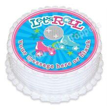 Pattinaggio DISCOTECA personalizzata ROUND CAKE TOPPER glassa commestibile