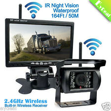"7"" Monitor IR Rear View Backup Camera Night Vision Wireless Kit For RV Truck Bus"