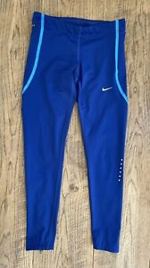 Nike Dri-fit Ladies Grey Blue Running Training Leggings Zips Mesh Panels Size S