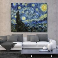 Starry Night by Vincent Van Gogh Oil Painting Hand-Painted Art Canvas 36x48
