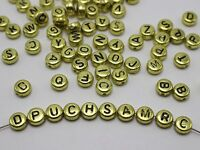 250 Assorted Golden Metallic Acrylic Alphabet Letter Coin Beads 4X7mm