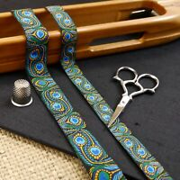 Designer Peacock Feathers Blue/Green Jacquard Ribbon Art Deco Dog Collar MA901