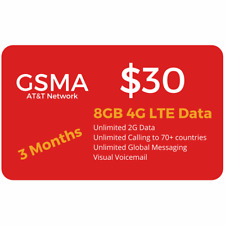 At&T Network $30 Plan 8Gb Lte Unlimited Minutes/Text 3 Months Included+Sim Card