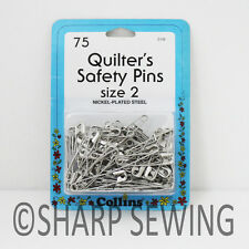 """COLLINS QUILTERS SAFETY PINS - SIZE 2 (1 1/2"""" LONG) 75 EACH # C132 132"""