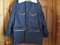 Vintage Sears Roebuck Sherpa Denim Jacket Coat size 42T Button Lined Barn Chore