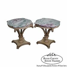 Grosfeld House Pair of Painted Carved Wood Plume Base Marble Top Side Tables