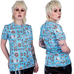 Women's Run & Fly Light Blue Moth & Bug Print T-Shirt