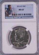 2014-D KENNEDY HALF DOLLAR 50c NGC MS67 (50th Anniversary Label)