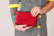 Pewter & red leopardprint hard case clutch bag by Therapy
