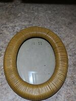 Vintage Oval Picture Frame Ribbed Potrait 5x7 Beige Brown