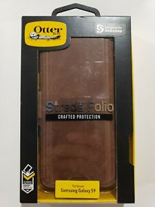 OtterBox Strada Folio Samsung Galaxy S9 Leather Wallet Case Espresso Dark Brown