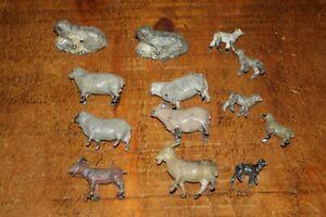 BRITAINS VINTAGE FARM 12 x METAL SHEEP LAMBS GOATS