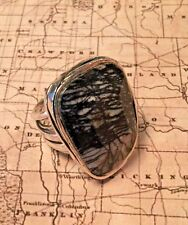 SILPADA R2761 Black Agate Abstract 925 Sterling Silver Ring Size 7 $104